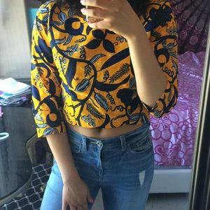 Tops - Yellow gold African print top